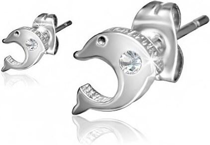 d6d96dd21 Šperky eshop - Náušnice, chirurgická oceľ, zrkadlovolesklý delfín, číry  zirkón, puzetky SP92