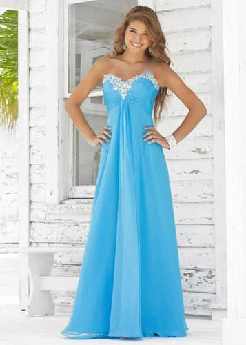27d3019c44b6 Nádherné světle modré plesové společenské šaty zdobené krajkou a kamínky
