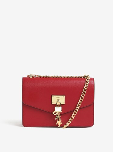 Červená kožená crossbody kabelka s detailmi v zlatej farbe DKNY Elissa b70e4688ee9