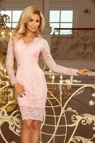 a8a6f2e631c Numoco Krajkové šaty s dlouhými rukávy a výstřihem pastelově růžové ...