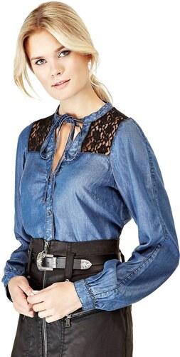 Guess dámská džínová košile s krajkou - Glami.cz cd96d225ac