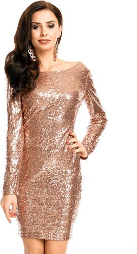 25988fdf378 Společenské šaty MAYAADI flitrové s dlouhým rukávem krátké bronzové ...