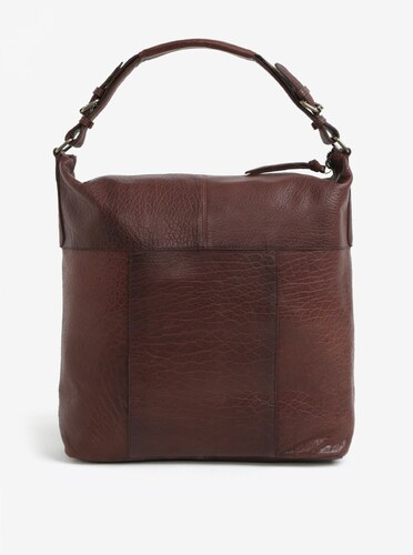 Tmavohnedé veľká kožená kabelka Pieces Ida - Glami.sk 46474d4c264