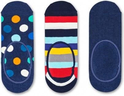 909caf3a880 Happy Socks 3 pack modrých pánských nízkých ponožek do tenisek Stripe Dot -  41-46