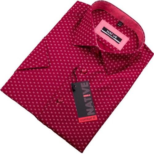 Červená pánská košile s krátkým rukávem Native 120303 - Glami.cz 80a348fd64