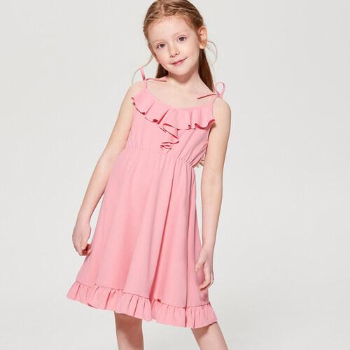 6605874985e9 Mohito - Dívčí šaty s volány little princess - Růžová - Glami.cz