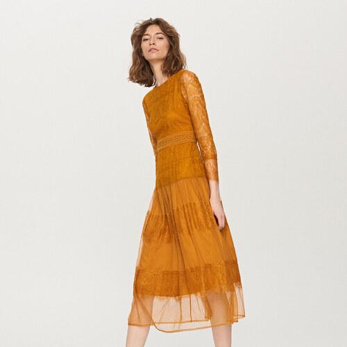 Reserved - Čipkované midi šaty - Žltá - Glami.sk 8d299a2dcde