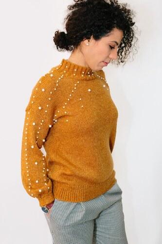 Žlutý svetr s perličkami - Glami.cz 035a70608c