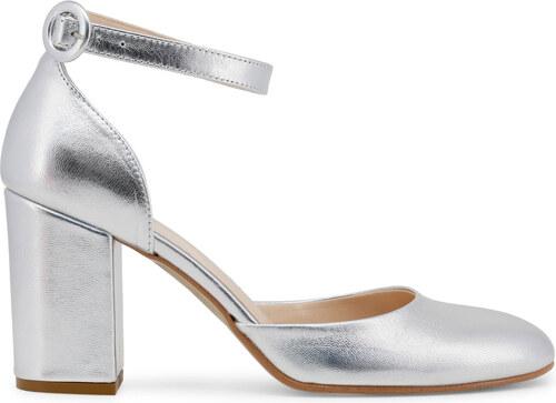 Dámské sandály s páskem kolem kotníku Made in Italia - stříbrná Barva  šedá 02cf1552da