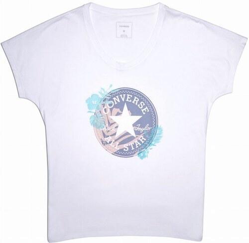 5f3e62d818a Dámské tričko Converse W Palm Print CP Fill Femme Tee XS white ...