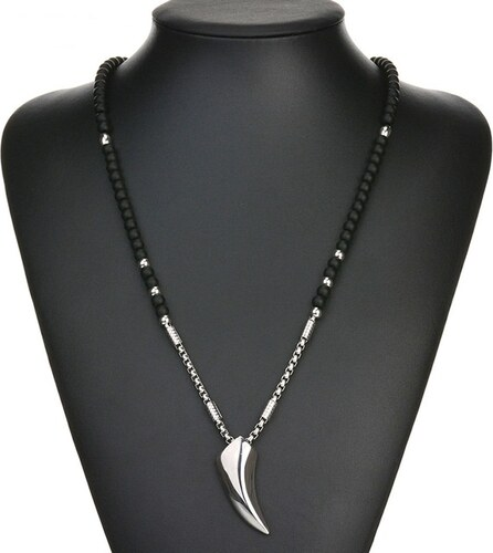 231018667fe8 B-TOP Pánský módní náhrdelník VIKING - čierny strieborný - Glami.sk