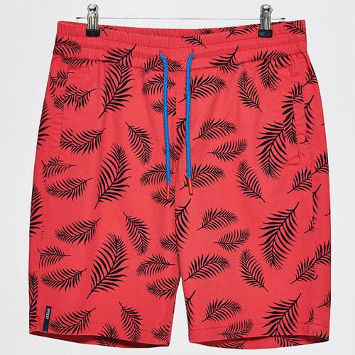 Cropp - Šortky s potlačou s motívom tropických listov - Červená ... 41c8e4bf1bb