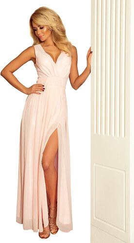 numoco Luxusní dámské společenské a plesové šifonové šaty dlouhé růžové 96d27f7b6a