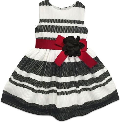 Joe and Ella Dievčenské pruhované šaty s kvetinou - čierno-biele ... e7ee56f9118