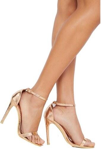 472bc65e0eb8 PRETTYLITTLETHING Zlaté remienkové sandále na podpätku - Glami.sk