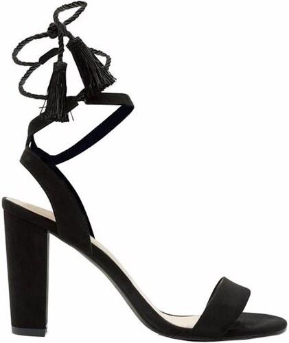 6eb0467cccae NEW LOOK Čierne semišové vysoké sandále so šnurovaním - Glami.sk