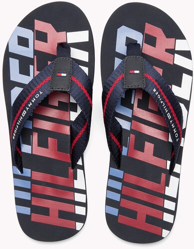 Tommy Hilfiger barevné pánské žabky Bold Hilfiger Beach Sandal Midnight - 42 5905199bf7