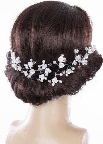 f8eb06cd968 Fashion Icon Svatební ozdoba do vlasů - čelenka Stříbrná větvička s  kytkami