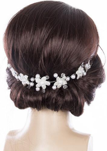 -20% Fashion Icon Svatební ozdoba do vlasů - čelenka Stříbrné kytky s  krystalky 70d8ca0dfe