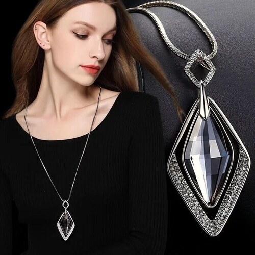 117aeafd6 B-TOP Dámsky dlhý náhrdelník DIAMOND GRAY - strieborná - Glami.sk