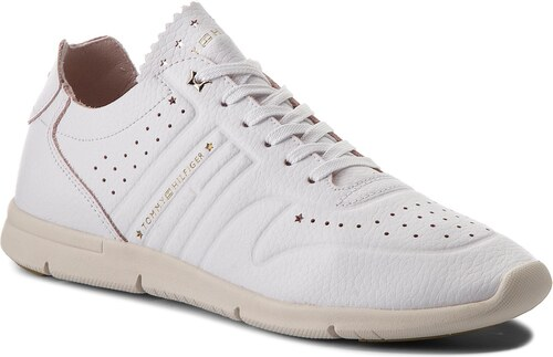 Sneakersy TOMMY HILFIGER - Leather Light Weight Sneaker FW0FW03017 White 100 c4df77c7e1