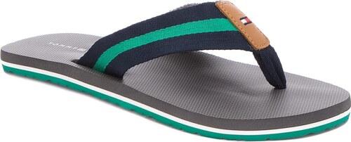 6b2b2558b61 Žabky TOMMY HILFIGER - Beach Sandal With Stripes FM0FM01597 Steel Grey 039