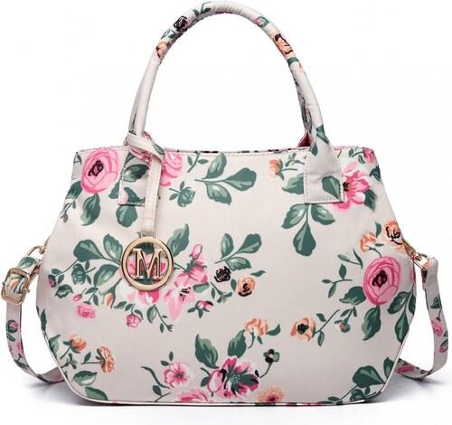 1a00460b13 Lulu Bags (Anglie) Nadčasová béžová matná kabelka s kvetinami Miss Lulu