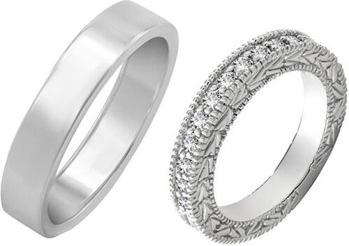 e0a781631 -6% Eppi Dámsky diamantový vintage prsteň a pánsky plochý svadobný prsteň  Olle