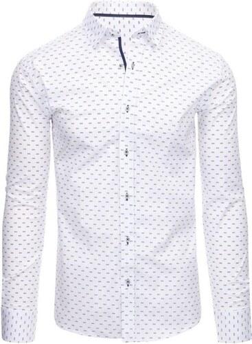 64b829b8a Manstyle Biela pánska moderné košeľa vzorovaná s dlhým rukávom ...