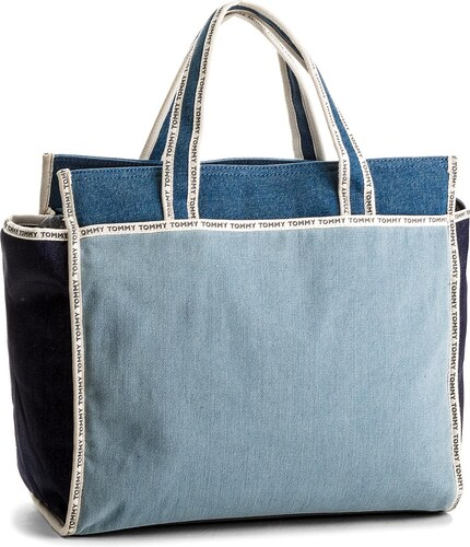 Kabelka TOMMY HILFIGER - Th Logo Tape Tote Denim AW0AW05089 901 ... 02d5e27a242