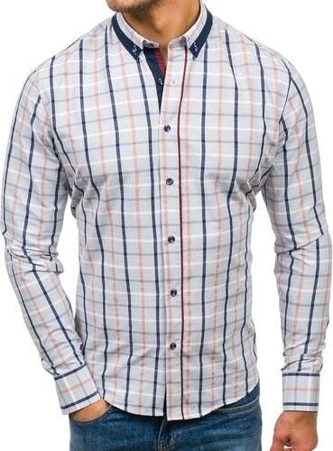 2a1ea96d85 Šedá pánska károvaná košeľa s dlhými rukávmi BOLF 8809 - Glami.sk