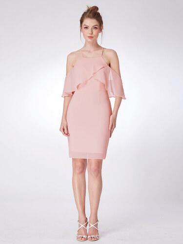Ever-Pretty Růžové šifonové šaty s křížem vrstveným živůtkem - Glami.cz 15319dc8b9