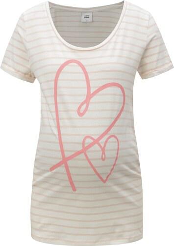 Růžovo-krémové pruhované těhotenské tričko Mama.licious Heart - Glami.cz ecacb0b706