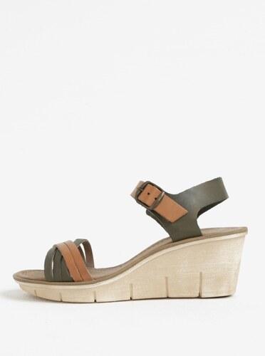 1889a8d4d86b9 Hnedo-zelené dámske kožené sandálky na platforme Weinbrenner - Glami.sk