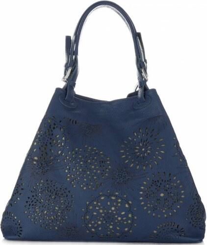9db05ddf91 -15% Vittoria Gotti Univerzální kožená kabelka XXL ažurová Tmavě Modrá