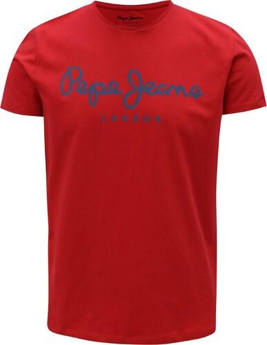 3ff7a440efec Červené pánske slim tričko s potlačou Pepe Jeans Original stretch ...