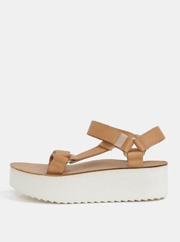 4e7fce2df850 Svetlohnedé dámske kožené sandále na platforme Teva - Glami.sk