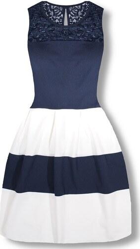 e07ba546a5 MODOVO Elegáns női ruha 2636 fehér-kék - Glami.hu
