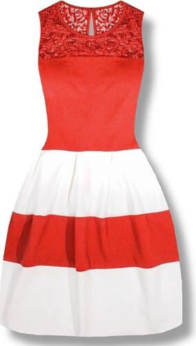 MODOVO Elegatné dámske šaty 2636 bielo-červené - Glami.sk 95b8e31856e