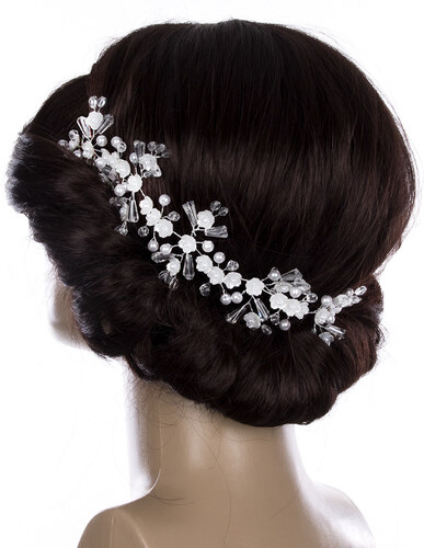 Fashion Icon Svatební ozdoba do vlasů - čelenka Crystal Flowers s krystalky  a perly e38820e46b
