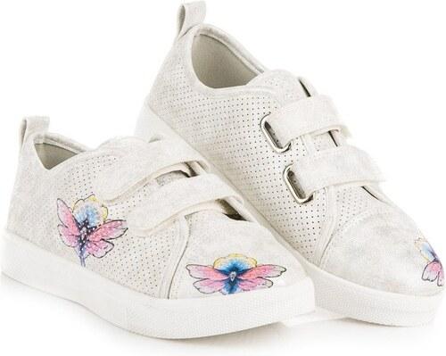 e6b5945d954 VINCEZA Pohodlné kožené dievčenské tenisky v bielej farbe na suchý zips