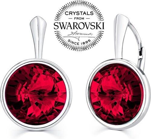 SILVEGO stříbrné náušnice se Swarovski Crystals 12mm tmavě červené VSWD004E c6dcd438524