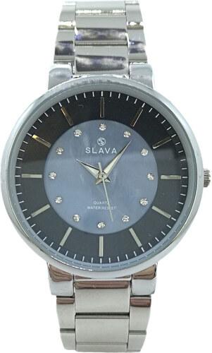 b287ee79a Dámské stříbrné hodinky SLAVA s modro-černým ciferníkem Barva: stříbrná