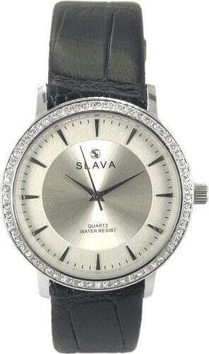 020a7d4f5 Dámské hodinky SLAVA s kamínky a stříbrným ciferníkem Barva: černá ...