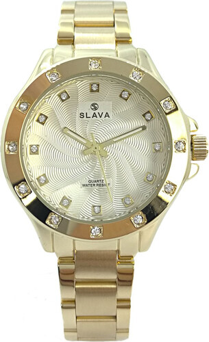 Dámské zlaté hodinky SLAVA s ozdobnými kamínky Barva  zlatá - Glami.cz 7a1ebc1326