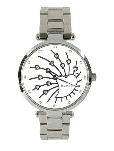 868f89c7974 Dámské ocelové hodinky SLAVA se srdíčky v ciferníku Barva  stříbrná ...
