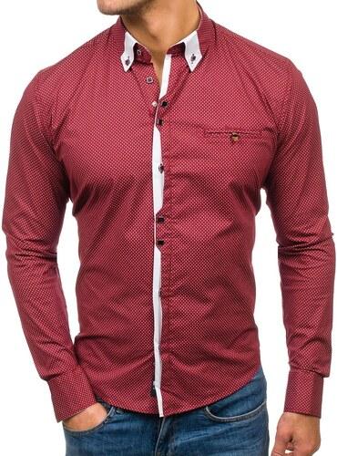 Vínová pánská vzorovaná košile s dlouhým rukávem Bolf 7717 - Glami.cz ef6c4213f1