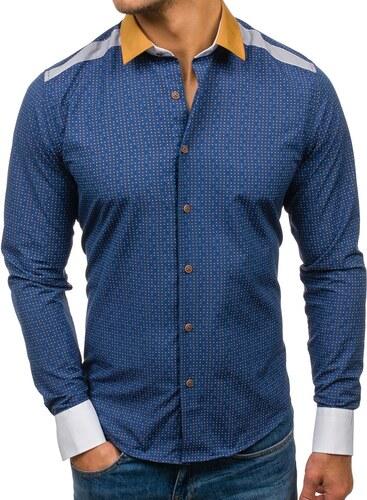 66794b3f1b1b Tmavomodrá pánska vzorovaná košeľa s dlhými rukávmi BOLF 8805 - Glami.sk