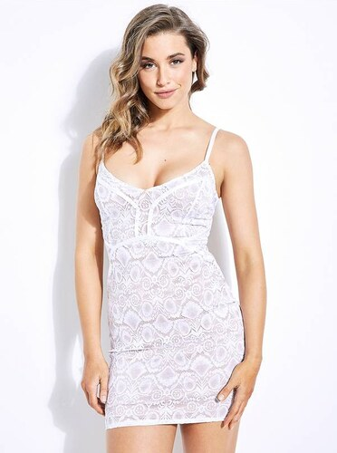 144db6b97 Šaty Guess Lush Lace Mini Dress bílé - Glami.cz