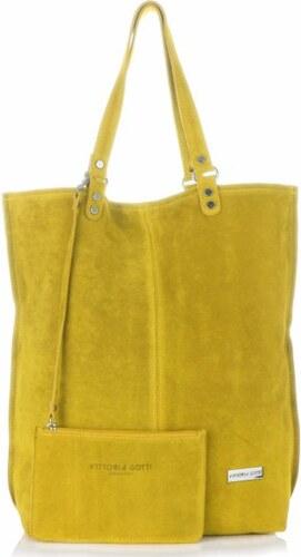 f9a758b33f31 -15% Velké Kožené Dámské Kabelky Vittoria Gotti ShopperBag XXL žlutá